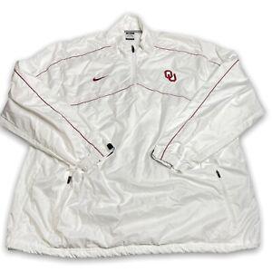 Nike Oklahoma Sooners Men's XXL Performance Pullover White Windbreaker 1/4 Zip
