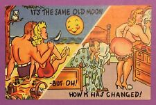 Vintage Antique Post Card, Marriage Humor, Moon