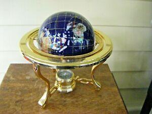 "Lapiz Gemstone Cobalt Blue World Globe 10"" x 9"" Brass Stand"