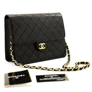a41 CHANEL Authentic Small Chain Shoulder Bag Clutch Black Quilted Flap Lambskin