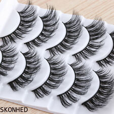 SKONHED 5 Pairs 3D Messy Long False Eyelashes Wispy Flutter Thick Cross Lashes~-