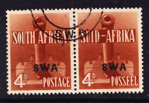 SOUTH WEST AFRICA 1941 SG118a 4d red-brown pair opt SWA very fine used Cat £38