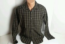 SQ Wear Men's Small Fitted Vintage Style Brown Black Casual Shirt Retro Looks