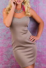 bfdd535e9ff6bf SeXy Damen Bandeau Pencil Mini Kleid Glitzer Dress Strass 34/36 36/38 Braun
