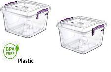 2 x 6 L Litre Clear Strong Plastic Pantry Boîte alimentaire conteneur de stockag...