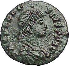 THEODOSIUS I the Great RARE Authentic Ancient  Roman Coin Wreath i54867
