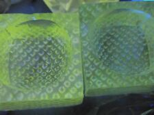 PAIR OF VERY OLD SMALL PIN DISHES DIAMOND POINT BASES STRONG GREEN UV GLOW