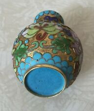 FINE 19c Antique CHINESE ENAMELED GUILLOCHE Colorful Small Vase