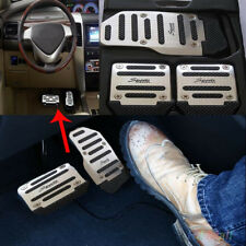 3PCS Car Vehicle Non-slip Pedal Foot Treadle Cover Pad Aluminium Black+Silver
