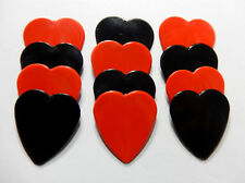 12pk Solid Red & Black Heart Shaped Guitar Picks - Heavy gauge - Blank