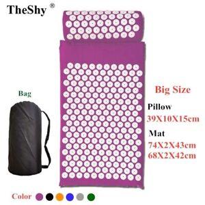74x43cm Massage Cushion Yoga Acupressure Mat And Pillow Set Neck Back Foot Mass