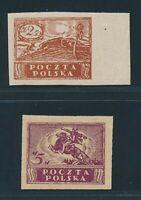 Poland 1919, Mi 99-100 MNH, very fresh and fine, Fischer 95-96A, 340,-