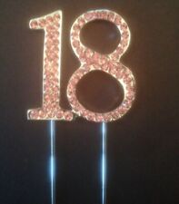 PINK 18TH BIRTHDAY PARTY DIAMANTE CAKE TOPPER DECORATION EIGHTEEN 18 TH UK SELLA