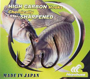 Hayabusa H.Bil 288 Carp Fishing Hooks Ringed Sizes 4,6,8. 10 Hooks Per Pack New