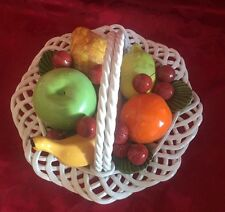 Bassano Lattice Woven Fruit Basket handle Porcelain Italy Centerpiece 11 in Vtg