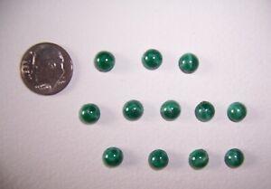 40 Pcs.,Vintage Mottled Green Glass, 7mm  Flatback Cabochons, Unused Old Stock