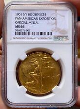 1901 Pan-American Exposition Official Medal Brass HK-289 Buchanan NGC MS-66