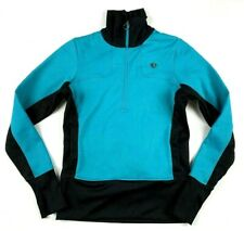 Pearl Izumi Cycling Jacket M Teal Black 1/4 Zip Fleece Long Sleeve Lightweight