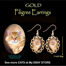 Tabby Orange Longhair Persian Maine Coon Smiley Cat - Gold Filigree Earrings