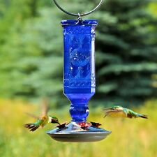 Blue Antique Bottle Hummingbird Feeder, Glass, 16 Oz Nectar Capacity, 4 ports
