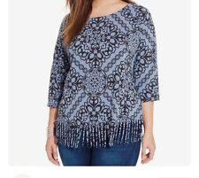 INC International Concepts Plus Size Printed Fringe Tee. Size 1X.