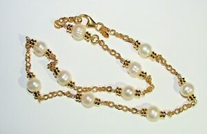 HONORA QVC GOLD OVER BRONZE ITALY WHITE  PEARL STATION NECKLACE NEW NWOT