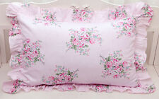 Shabby Chic Cottage Large Floral Rose on Pink Ruffle Edge Pillow Case Sham