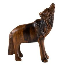 """Unique Hand Carved Ironwood Wolf Standing Howling Figurine Wood Carving 5"""" High"""