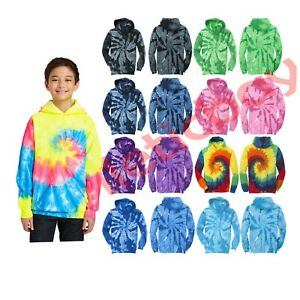 New Kids Tie Dye Hoodie Port & Company Colorful Youth Pullover Hooded Sweatshirt