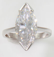 4 ct Marquise Ring Vintage Top Russian CZ Moissanite Simulant SS Size 9