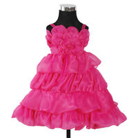 New Flower Girl Party Bridesmaid Wedding Pagent Dress Hot Pink,Ivory 2-7 Years