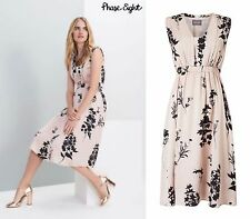 BNWT Phase Eight Tatiana Black Nude Fit Flare Summer Occasion Tea Dress Size 12
