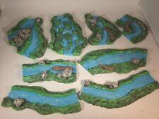 8x painted Rivers for wargames scenery. terrain buildings, 40k warhammer.
