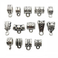 122 PCS Bail Beads Charms Collection -Silver Loop Barrel Curved Hole Tube Spacer