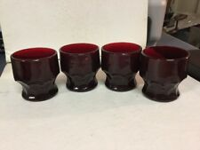 4 Vintage Royal Ruby Red 5.5 Oz Juice Glasses Anchor Hocking Georgia Honeycomb