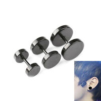 2PCS Men Boy Stainless Steel Ear Stud Round Barbell Earrings Men Jewelry Gifts