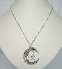 """Moon Face and Star Pendant 20"""" Chain Wiccan Pagan Goddess Necklace in Gift Bag"""