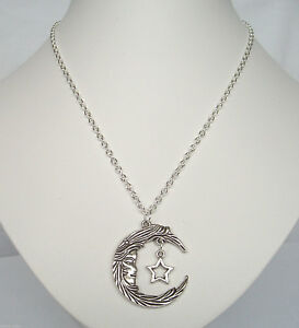 """Moon Face and Star Pendant 20"""" Chain Necklace in Gift Bag - Wiccan Pagan Goddess"""