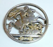 A Georgian Silver George Iv 1821 George & The Dragon Cut Out Coin Brooch