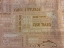 "FABRIC Cotton Brown Fish Word Old Guys Rule Men Log Cabin Water, 44"" w, sold BTY"