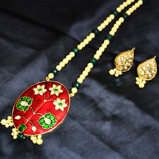 Indian Ethnic Necklace Set GoldTone Meenakari Onyx Pearl Bollywood Woman Jewelry