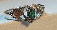 Gorgeous black hills gold Emerald heart sterling ring sz7
