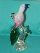 "Large 12-1/2"" Murano Glass Bird on Stand Figurine Statue Pink Green Gold Flecks"