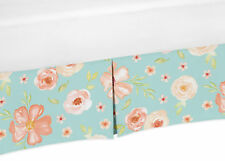 Turquoise Peach Sweet Jojo Watercolor Floral Baby Crib Bed Skirt Dust Ruffle