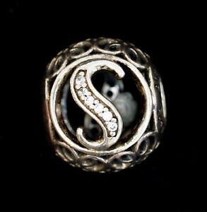 PANDORA 925 ALE Sterling Silver & CZ Vtg Letter S Alphabet Charm #791845CZ C1798