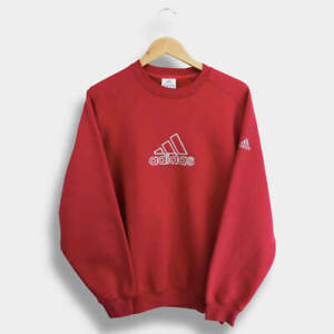 Adidas Sweatshirt Crewneck Big Logo Red Vintage 2000's Mens Small S
