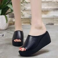 Women Platform Slippers Wedge High Heel Slip On Casual Shoes Summer Beach Sandal