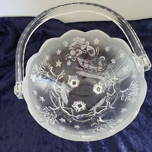 """Mikasa Silent Night Basket With Handle Holiday Candy Bowl 8 1/4"""" Crystal Germany"""