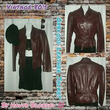 Vintage 80's Wilsons Oxblood Leather Jacket Cropped Trench Retro VTG Jacket Sz S