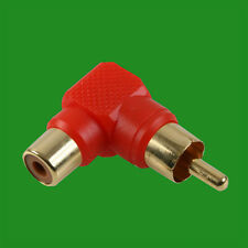 Right Angle Red RCA Phono Adaptor Audio Plug to Socket Gold Plated Contacts